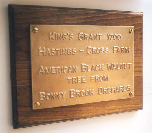 9x11 plaque mounted by our customer onto polished walnut from his farm