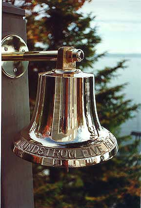 M19 size ships bell shown with M19BR bronze bell bracket.  This bell is lettered (see below).