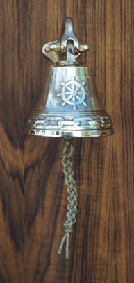 M305 Ships Wheel bronze bell, bracket included